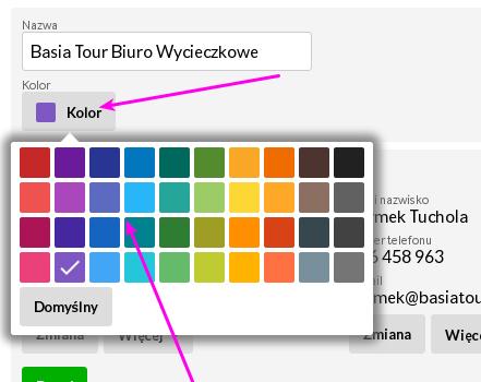 Kolory klientów w kalendarzu