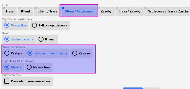 Rozszerzenie informacji wyświetlanych w kalendarzu tras autobusowych
