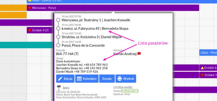 Krótka lista pasażerów np. dla przewozów typu Euro-Bus lub dowóz dzieci do szkół