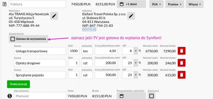 Integracja modułu Faktury z programem Symfonia handel