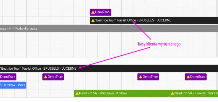 Trasy ważnego Klienta wyróżnione w kalendarzu