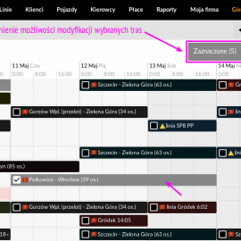 Hurtowa edycja tras  za pomocą kilku kliknięć prosto z widoku Kalendarza