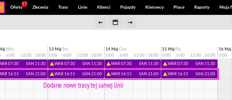 Jak wygenerować trasy tej samej linii o innej godzinie?